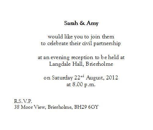 Civil Partnership Cards Civil Partnership Evening